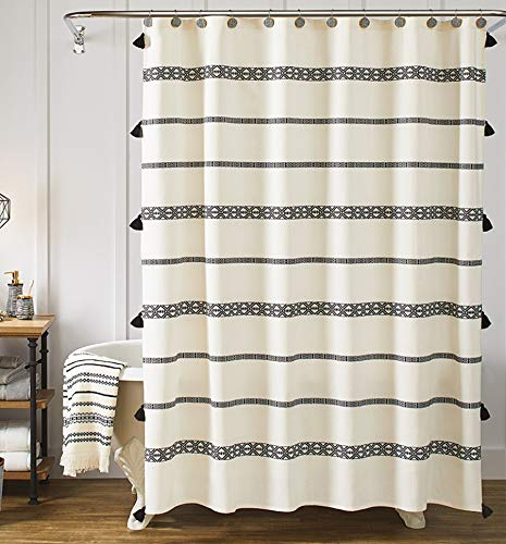 YoKii Tassel Fabric Shower Curtain, Black and Beige Stripe Print Boho Polyester Bath Curtain Set with Hooks, Decorative Spa Hotel Heavy Weighted 72-Inch Bathroom Curtains, (72 x 72, Black and Beige)