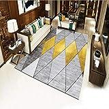 YXISHOME Alfombra de diseño Alfombras contemporáneas Alfombra de Pelo Corto y Recto Alfombra geométrica Patrón de Diamantes Dorados Alfombra de salón Ultra Suave 150x170cm