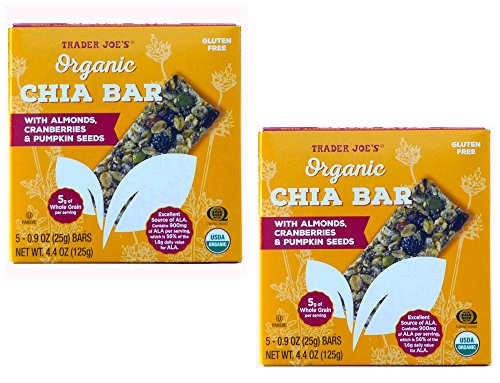 Trader Joes Organic Chia Bar w/ Almonds Cranberries Pumpkin Seeds Gluten Free (2)
