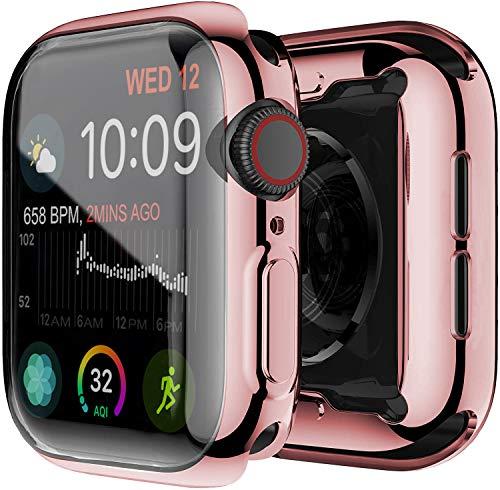 Yolin [2-Stück] All-Aro& TPU Bildschirmschutz Kompatibel mit Apple Watch Series 6/ SE/Series 5 / Series 4 40mm, Superdünne Weiche Schutzhülle für iwatch 40mm (1 Roségold + 1 Transparent)