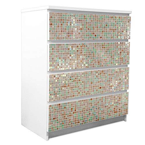 banjado Möbelfolie passend für IKEA Malm Kommode 4 Schubladen | Möbel-Sticker selbstklebend | Aufkleber Tattoo perfekt für Wohnzimmer und Kinderzimmer | Klebefolie Motiv Grüne Fliesen