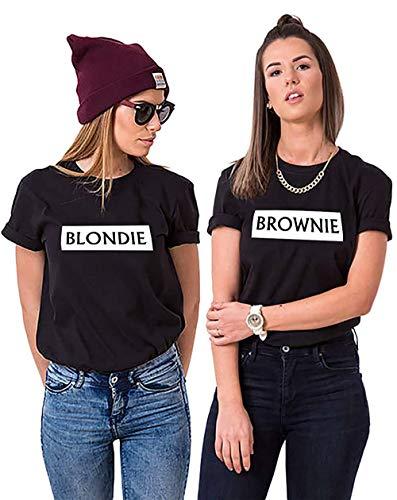 Best Friends T-Shirts Damen Blondie Brownie Shirt BFF (SCHWARZ Blondie S)