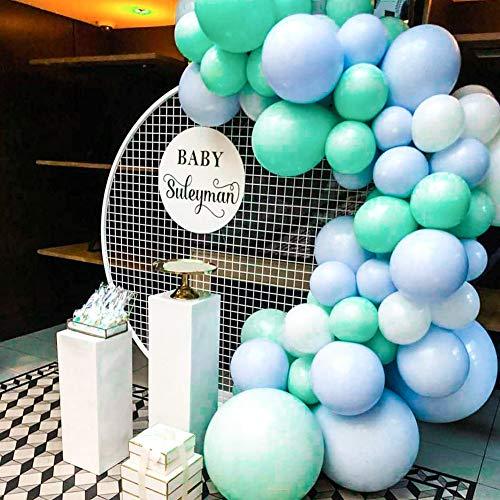 PartyWoo Luftballons Türkis Blau, 60 Stück 10 Zoll Luftballons Türkis, Luftballons Blau und Luftballons Weiß, Luftballons Mint Blau für Luftballon Baby Junge, Taufdeko, Luftballon Girlande Baby Junge