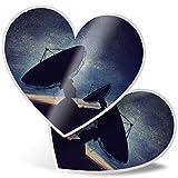 Impresionante 2 pegatinas de corazón de 7,5 cm – diseño de antena parabólica para portátiles, tabletas, equipaje, libros de chatarras, neveras, regalo genial #3642