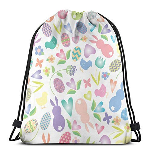 XCNGG Bundle Backpack Outdoor Shopping Knapsack Lovely Rabbits, Eggs and Tulips Rope-Pulling Bag Sports Bag Suitable for Fitness Shopping and Yoga