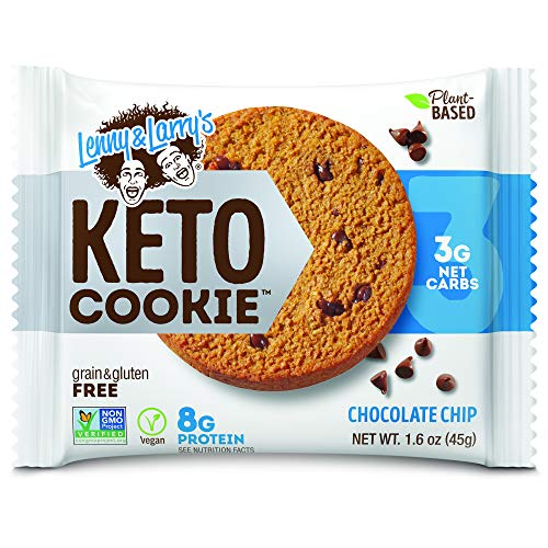 Lenny & Larry's Keto Cookie, Chocolate Chip, Soft Baked, 8g Plant Protein, 3g Net Carbs, Vegan, Non-GMO, 1.6 Ounce Cookie...