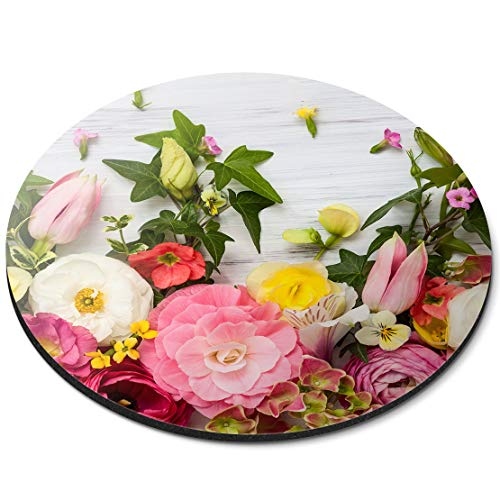 Round Mouse Mat - Pretty Flowers Florist Floral Arranging Office Gift - RM8743