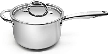 Fortune Candy 4-Quart Saucepan with Lid, Tri-Ply, 18/8 Stainless Steel, Advanced Welding Technology, Dishwasher Safe, Indu...