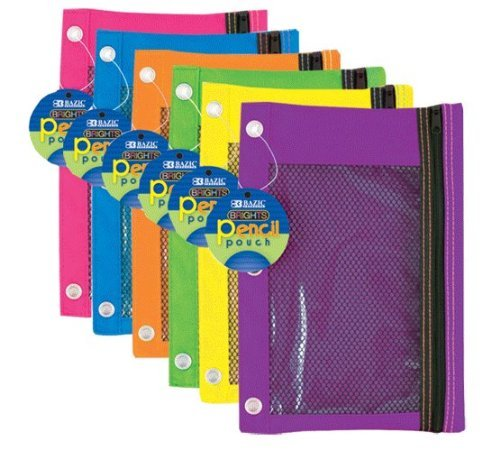 Bazic 3-Ring Pencil Pouch with Mesh Window, Color: Bright (2-Pack)