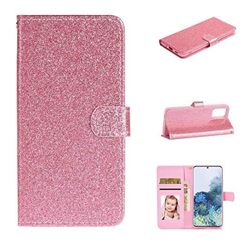 BAIYUNLONG Funda para Samsung Galaxy Note20 con purpurina en polvo horizontal con ranuras para tarjetas, soporte y marco de fotos, cartera y cordón (color rosa