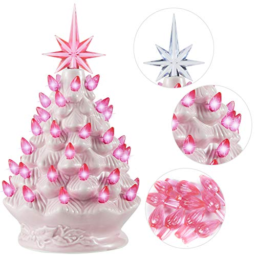 Joiedomi 9' Pink Ceramic Christmas Tree, Prelit Tabletop Christmas Tree with Extra Pink Star Topper & Bulbs for Best Xmas Decoration