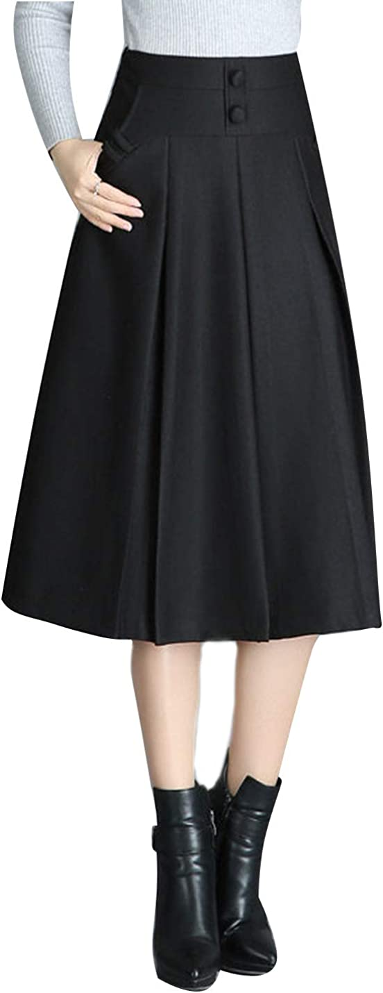 Omoone Women's Casual Winter Elastic Waist Wool Blend A-Line Mid Long Skirts