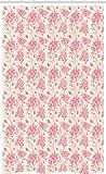 ABAKUHAUS Primavera Cortina para baño, Rosáceas Flores De La Acuarela, Decorativa 100% Poliéster Set con Ganchos incluídos, 120 x 180 cm, Rosa Melocotón Y Crema