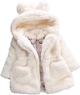 HongHong Baby Girls Kids Rabbit Ears Hooded Coat,Faux Fur Winter Warm Jackets Thick Outwear Xmas Gift for 80-140cm Girls