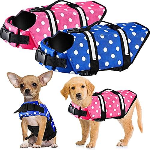 Pateacd Hund Schwimmweste Sommer Hundeschwimmweste für Schwimmtraining Reflektierend Haustier Rettungswesten mit Rettungsgriff Verstellbare Sicherheitsweste Schwimmhilfe Hundeweste,Rosa,XS
