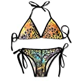 Indien Elephant Tree of Life Trikini Bikini Set Traje de baño de Dos Piezas para Mujer