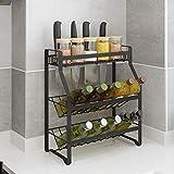 HHRONGJKDMM Küchengerät-Regal, Küchenregal, mehrlagige Aufbewahrung, bodenstehend, Platz für Gewürzregale