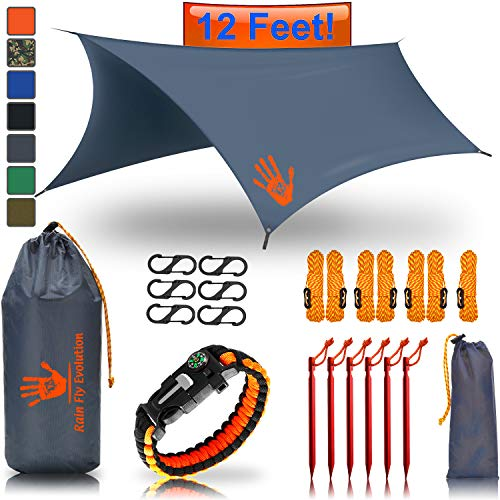 RainFlyEVOLUTION 12 x 10 ft HAMMOCK WATERPROOF RAIN FLY TENT TARP & Survival Bracelet Kit – Lightweight - Backpacker Approved - DIAMOND RIPSTOP NYLON - Perfect Hammock Shelter Sunshade for Camping