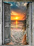Pintura de diamante DIY paisaje puesta de sol mar punto de cruz cuadrado completo taladro bordado hecho a mano decoración de la pared de la habitación del hogar A3 40x50cm