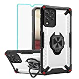 Samsung Galaxy A12 Case, Samsung A12 Cases with HD Screen Protector [360°Rotating Stand], Yiakeng Shockproof Silicone Protective with Kickstand Grooves Phone Cover for Samsung Galaxy A12 5G (Black)