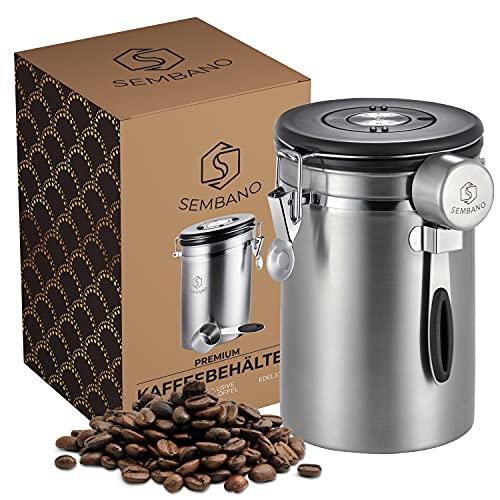 Sembano Kaffeedose Luftdicht 500g Edelstahl Kaffeebehälter Vakuum Kaffeebohnenbehälter Aromadicht gemahlener Kaffee oder Kaffeepads - mit Datumsanzeige und Messlöffel - 1,8 L (Silber)