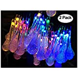 Lemontec Solar String Lights 20 Feet 30 LED Water Drop Solar Fairy Waterproof Lights for Garden…