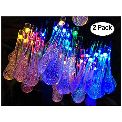 Lemontec Solar String Lights 20 Feet 30 LED Water Drop Solar Fairy Waterproof...