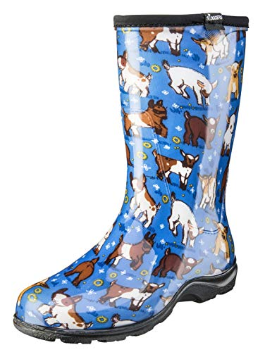 Sloggers Women's Waterproof Rain and Garden Boot with Comfort Insole, Goats Sky Blue, Size 10, Style 5018GOBL10