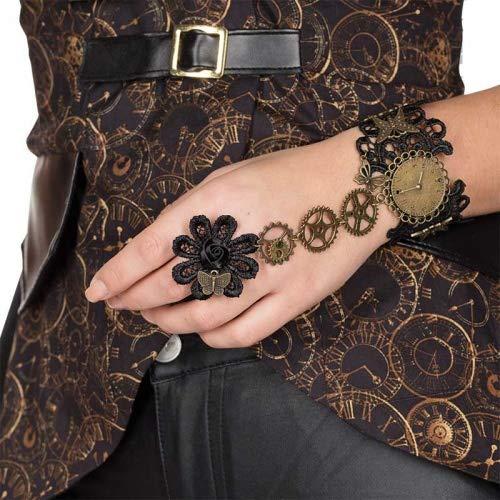 Rubie's Elegante pulsera Steampunk con diseño antiguo, engranajes de encaje, accesorio para carnaval