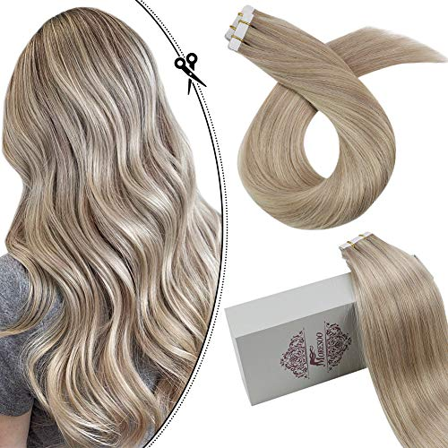Moresoo 18Inch Remy Tape in Hair Extensions Human Hair Highlighted Color #18 Ash Blonde with #613 Blonde Seamless Skin Weft Human Hair Extensions 20PCS 50G Full Hair