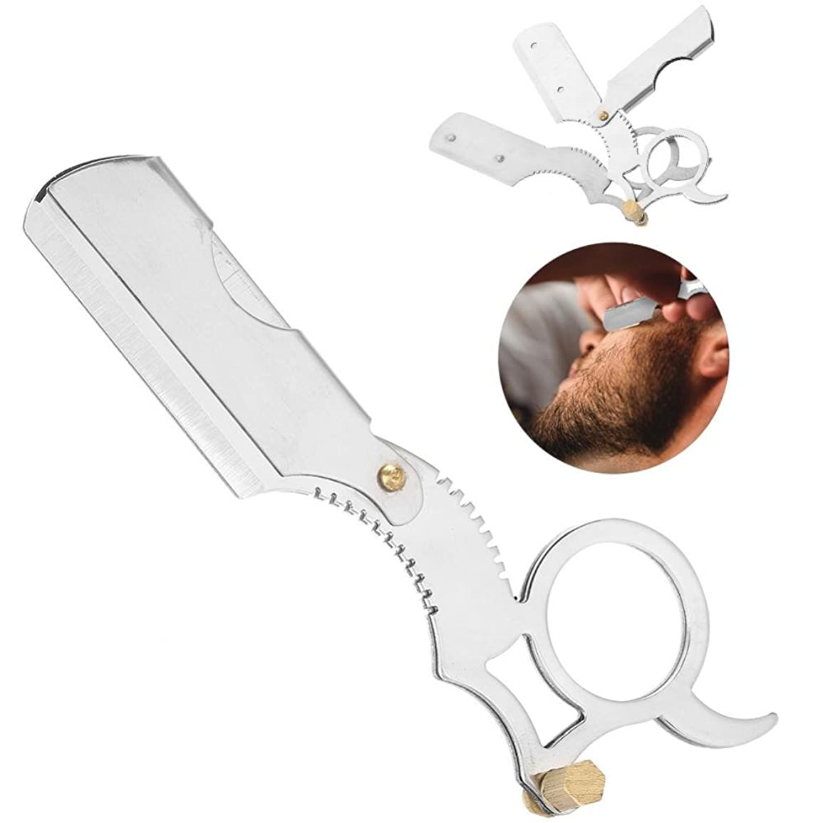 強制的行商人嫌なかみそり 男性 ステンレス鋼 安全剃刀 刃ヘッドシェーバー 折りたたみ 男性フェイスケア クレンジングシェービングツール(1)
