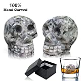 Vodolo (2 Pack) Whiskey Stones - 100% Natural Pure Granite Skull Bone Chilling Rocks for Whiskey Scotch Vodka Beverage Wine Stones, Reusable Hand Carved Chill Stones with Gift Box