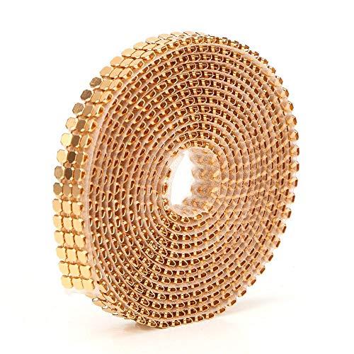 Operalie Ajuste de Costura, 3 Filas Hotfix Malla de Aluminio Cinta de Diamantes de imitación Costura Strass Trim Accesorios de Ropa 1,5 m(Gold)