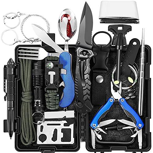 Survival Kit 17-in-1 | Tolaccea Survival Ausrüstung mit Feuerstahl, Survival Messer, Survival Armband | Outdoor Notfall Set | Camping Geschenke für Männer | Tragbar Wander Gadgets