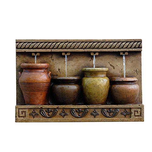 The Mayan Terracotta Vases Outdoor Wall Fountain - Water Feature for Garden, Patio and Home Enhancement - HF-W010