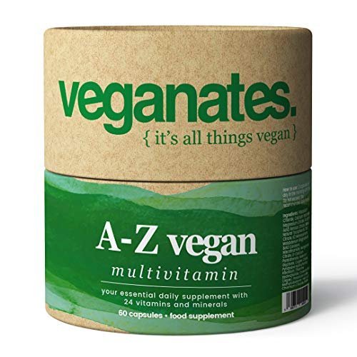 Vegan Multivitamin Supplement in Plastic Free Biodegradable Tub. 24 Vitamins and Minerals Including D3, B12, C, K2, Iron, Zinc & Iodine. Made in The UK by Veganates