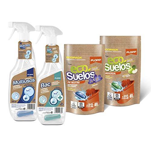 Flopp - Pack Limpieza de Superficies Sostenible y Vegano: 1 Multiusos y 1 Higienizante en Cápsulas en 2 Botellas 100% Pet-PCR Reciclado y Reutilizables y 2 Packs de Friegasuelos Ecológicos (40 dosis)