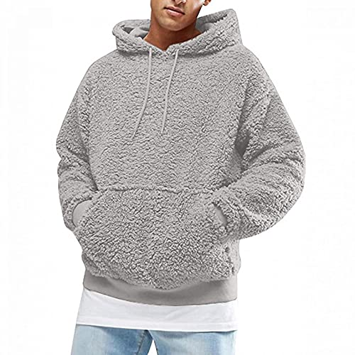 Mens Fuzzy Hooded Sweatershirts Soft Comfy Fleece Hoodies Sweaters Classic Sherpa Pullover Blouse Thicken Thermal Tops Gray