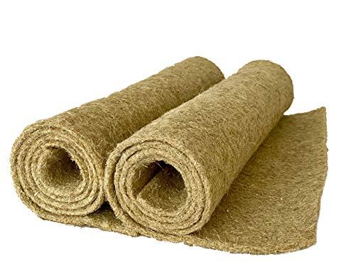 Alfombra para roedores de 100% cáñamo, 120 x 50 cm, 5 mm de grosor, paquete de 2 unidades (7,35 por unidad), alfombra para jaulas, como conejos, cobayas, hámsters, ratas, degus y otros roedores.