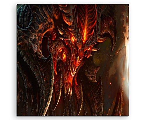 Diablo 3 Art Leinwandbild in 60x60cm Made in Germany! Preiswerter fertig gerahmter Kunst-Druck zum Aufhängen - tolles und einzigartiges Motiv. Kein Poster oder Plakat!