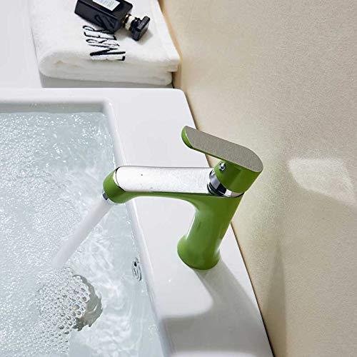 Grifo de la cocina Grifo de lavabo verde de una sola palanca, grifo mezclador de baño de agua fría y caliente, grifo de lavabo naranja para fregadero, grifo de baño montado en la cubierta