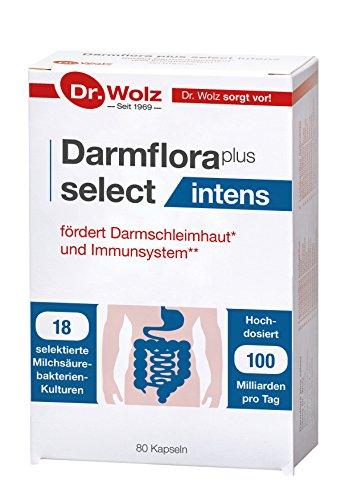 Darmflora plus select intens Dr. Wolz | hochdosierte Bakterienkulturen 100 Mrd/Tag | 18 Kulturen | widerstandsfähige, selektierte Milchsäurebakterien | 80 Kapseln