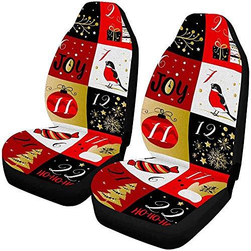 Enoqunt Adventskalender met kerstelementen autostoelbekleding voorstoelen geschikt voor voertuigen limousine en jeap