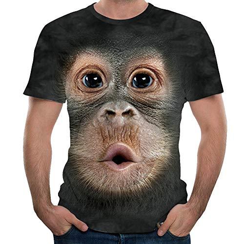 iSunday Herren Funny 3D Animal Printed Shirt Tops, Men Fun Gorilla Monkey 3D Printed T-Shirt Casual Short Sleeve Round Collar Tops, Schwarz , XXXX-Large