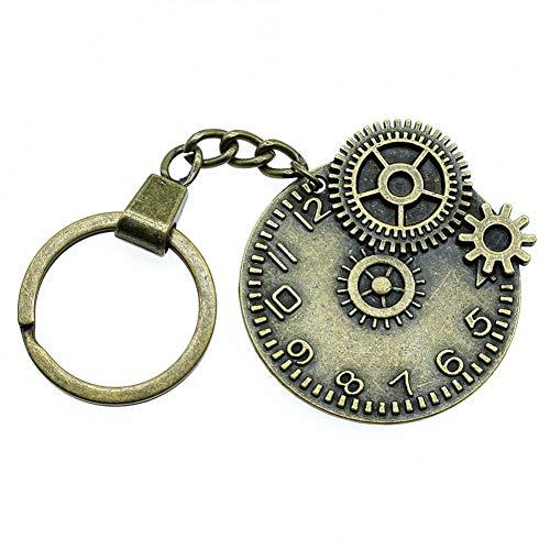 HXYKLM modieuze sleutelhanger van metaal sleutelhanger sieraad geschenk antiek brons geplatteerd tandwiel klok 45 x 42 mm hanger