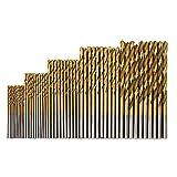 MINHER 50 pz micro trapano set 1/1.5/2/2.5/3mm rivestito in Titanio HSS alta velocità metallo Trapani spirale punte set