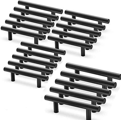 Lot de 20 poignee de meuble cuisine noir en acier inoxydable poignée meuble noir en T Bar Bâton Cuisine,Ø 12mm (Hole Centers:96mm)