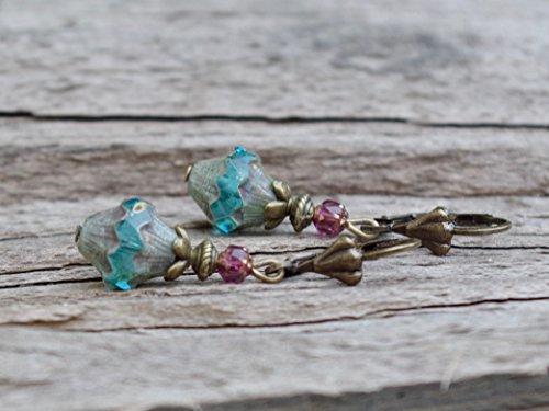 Vintage Ohrringe mit böhmischen Glasperlen - aqua hellblau türkis picasso lila & bronze