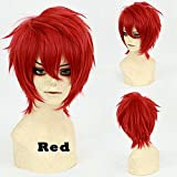 S-noilite Short Cosplay Full Wig Women Mens Male Anime Fluffy Straight Synthetic Hair Wig Cool Halloween Party Costume (Red)