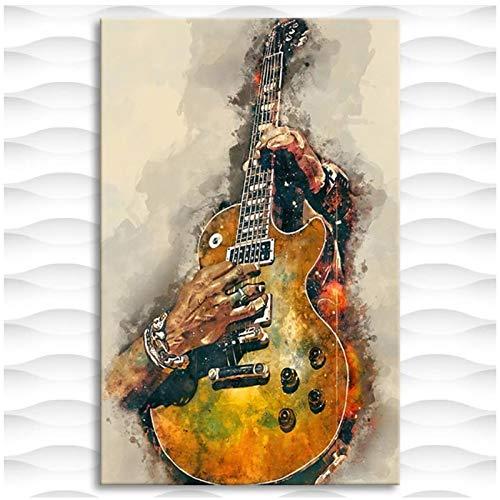 YANGYUE Cuadro Impreso en Lienzo Pintura Guitarra eléctrica Pared Arte Cartel hogar...
